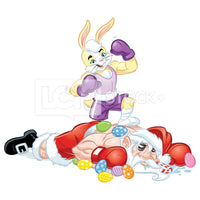 MMA Easter Bunny Standing Over A Defeated Santa Vector Clipart