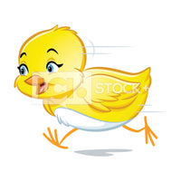 Easter Chick Running Vector Clipart