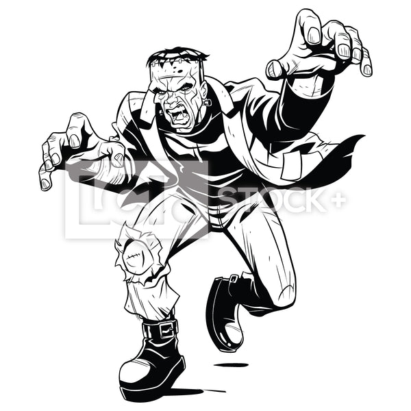 Frankenstein Running At You Vector Clipart