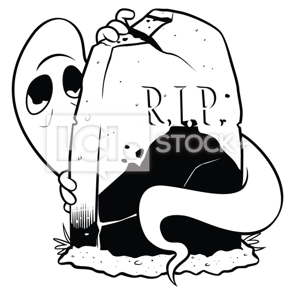 Ghost Hiding Behind Tombstone Vector Clipart