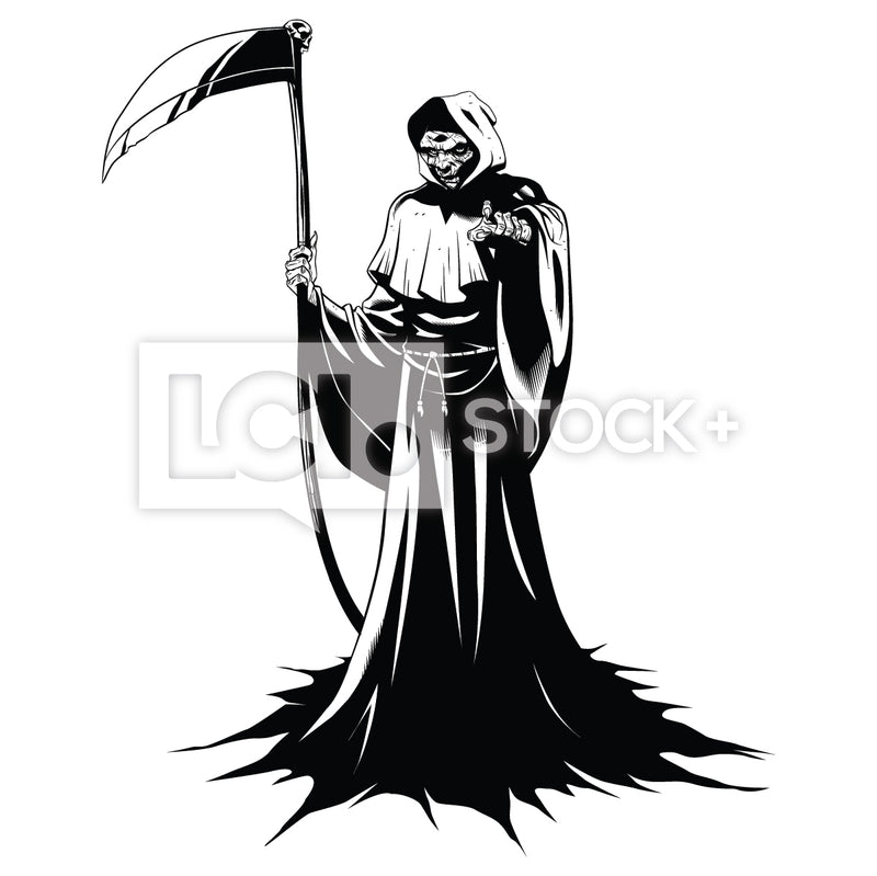 Grim Reaper Holding Sickle & Pointing Vector Clipart