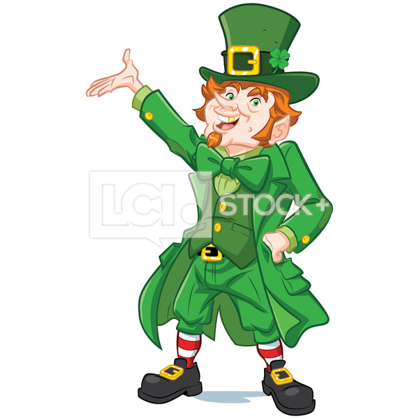 Leprechaun Hand On Hip Presenting Vector Clipart