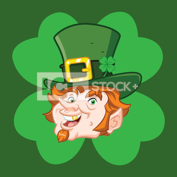 Leprechaun Headshot With A Clover Background Vector Clipart