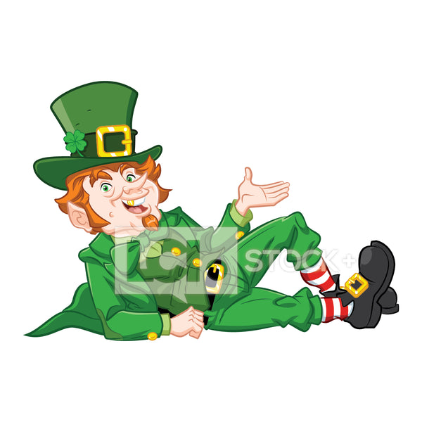 Leprechaun Lounging & Presenting Vector Clipart