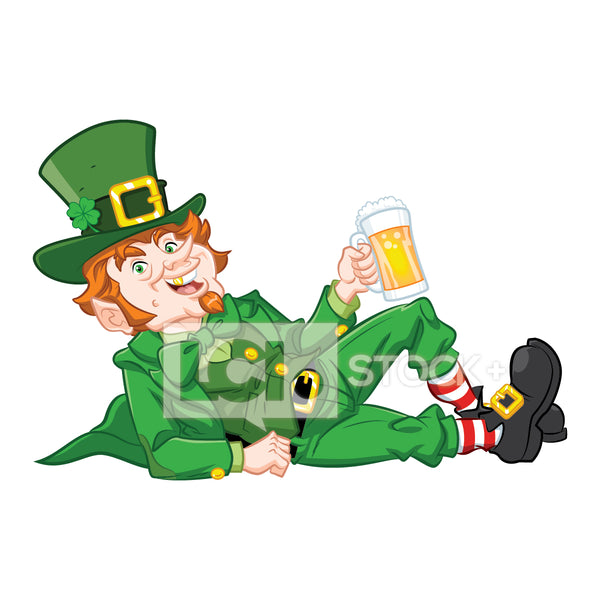 Leprechaun Lounging With A Beer Vector Clipart