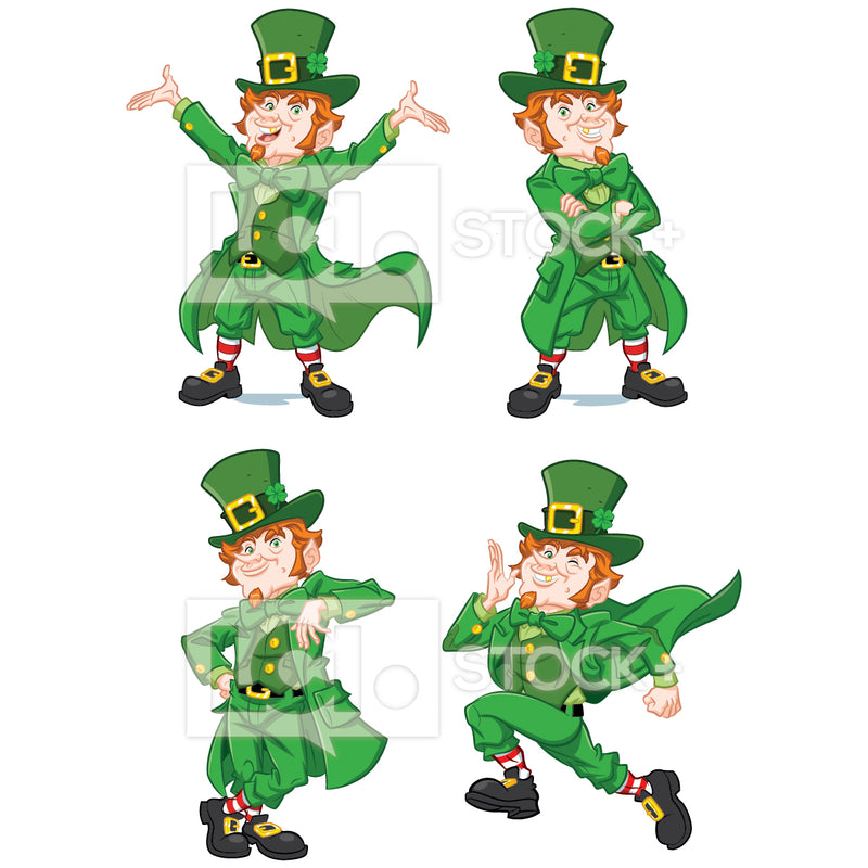 Leprechaun In Various Poses Vector Clipart Bundle