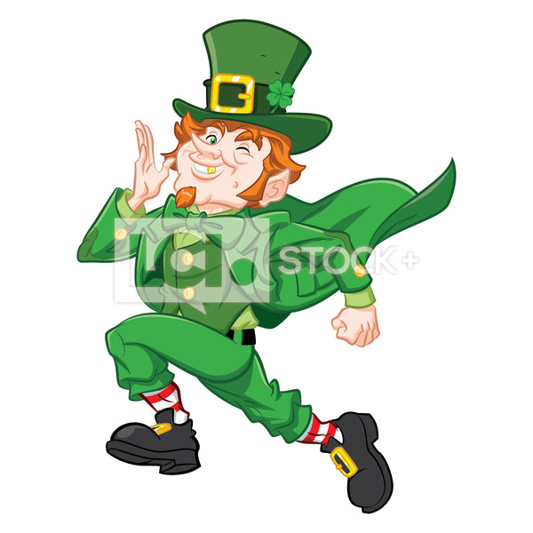 Leprechaun Running Vector Clipart