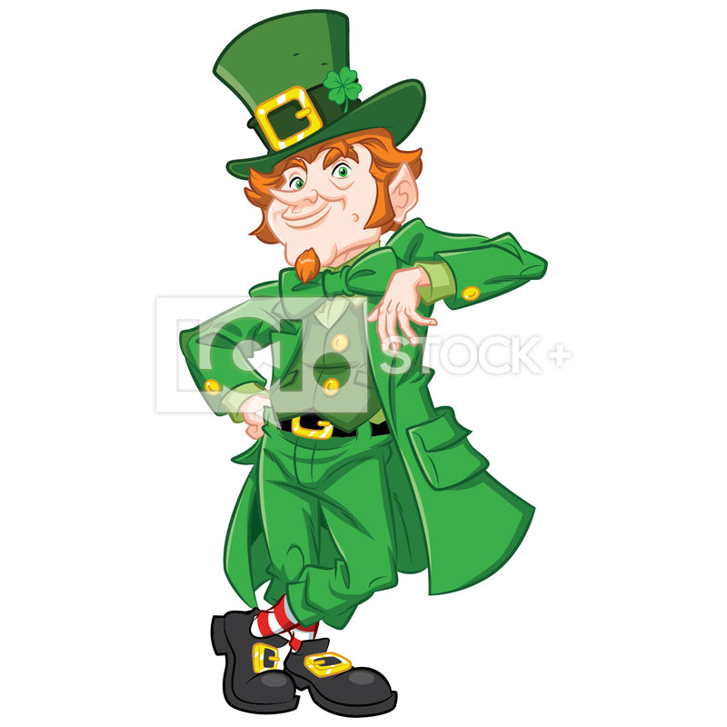 Leprechaun Smiling And Leaning Vector Clipart