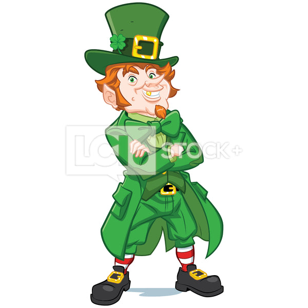 Leprechaun Standing & Throwing Arms In The Air Vector Clipart