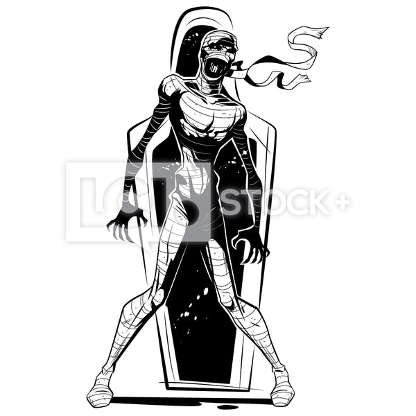 Mummy Emerging From Sarcophagus Vector Clipart