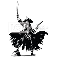 Skeleton Pirate King Vector Clipart