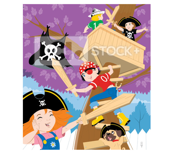 Kids Pretending To Be Pirates Vector Clipart