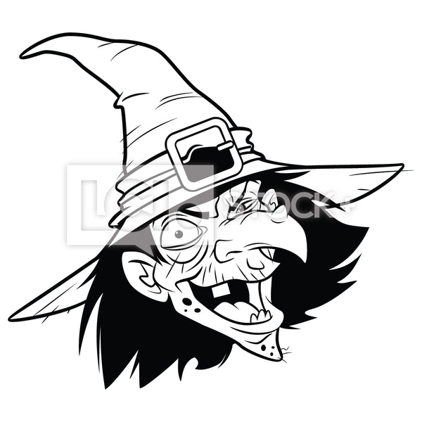 Cartoon Witch Head Icon Vector Clipart