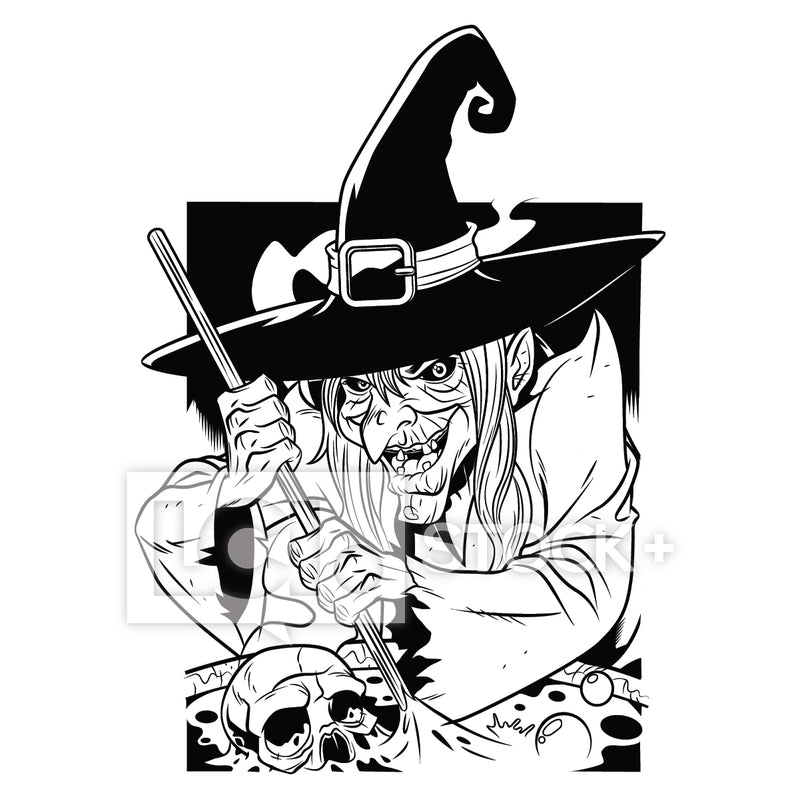 Witch Cackling & Stirring Cauldron Vector Clipart