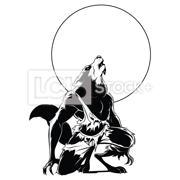Wolfman Howling At The Moon Vector Clipart