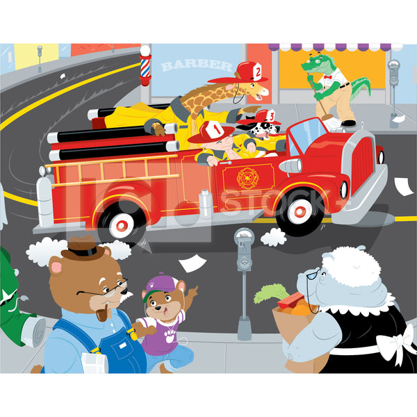 vector clipart of an all animal fire department racing to a fire