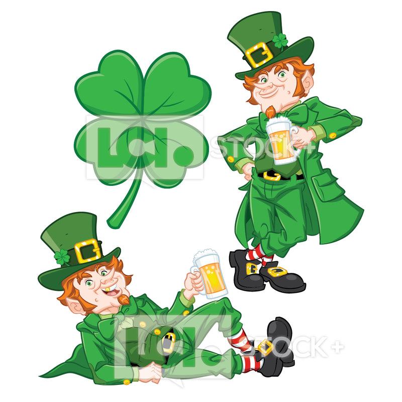 Leprechauns Drinking Beer Vector Clipart Bundle With Clover Icon
