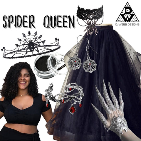 Flat lay of items used to put together a spider queen look