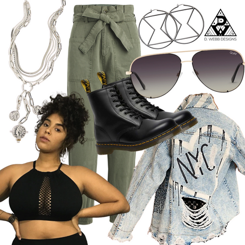 Aaliyah inspired crop top with combat boots