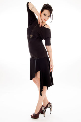 Black Origami Asymmetric Skirt