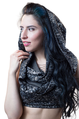 Silver Jacquard Empire (Infinity Hooded Scarf)