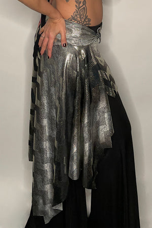 Metallic Chevron Asymmetric Layering Skirt / Made-To-Order