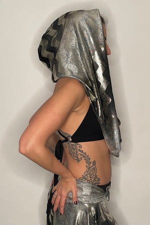 Metallic Chevron Empire Infinity Hooded Scarf / Made-To-Order