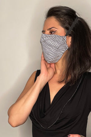 Jack Diagonal Messy Pin-Striped Embroidered Charity Face Mask / Made-To-Order