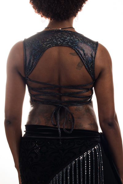 Black Stain-Glass Dot Corset Back Top