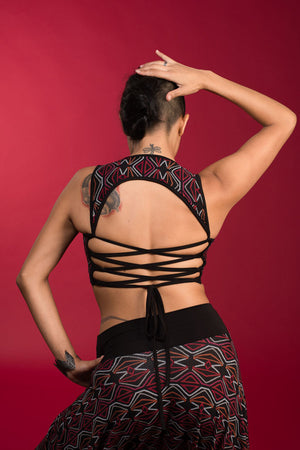 """Warm"" Berber Dot Corset Back Top"
