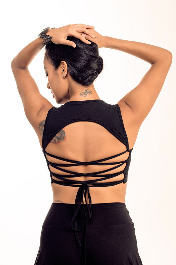 Black Corset Back Top