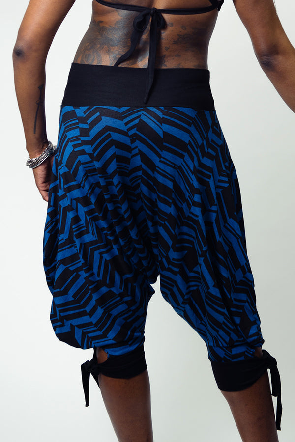 Abstract Geo Blue Capri Harem Pants