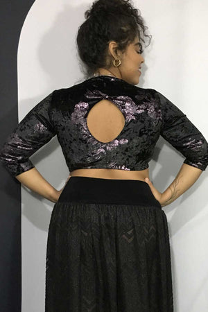 Royal Black Velvet Cadi Top with Purple Flowers