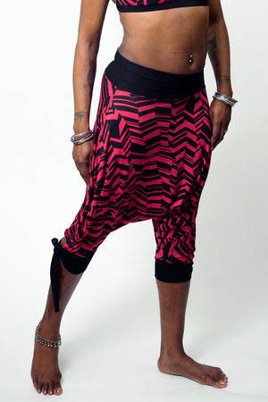Abstract Geo Fuchsia Capri Harem Pants