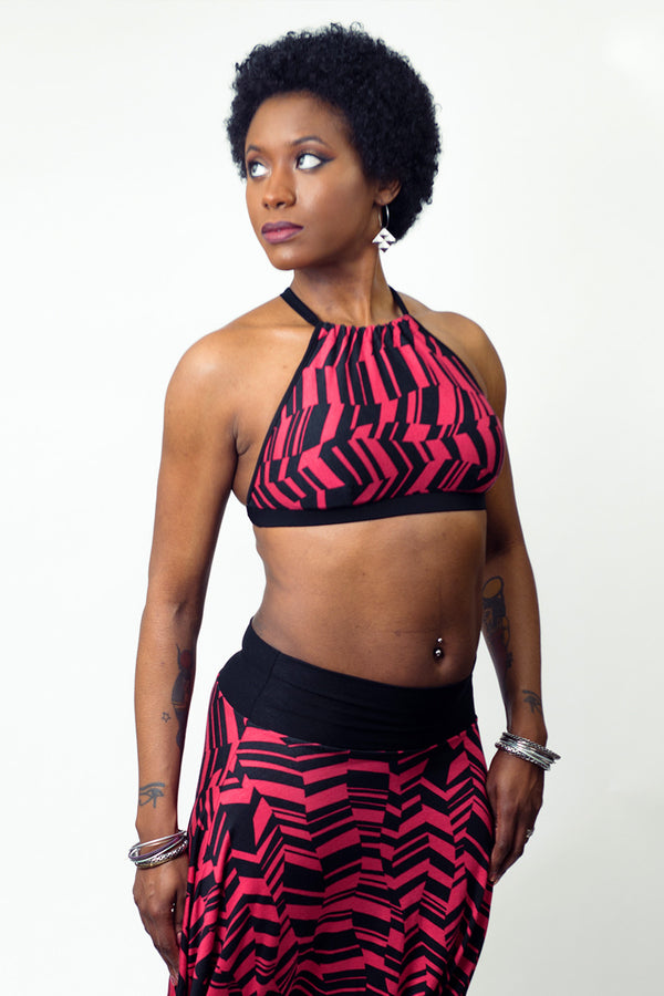 Abstract Geo Fuchsia Relaxed Halter