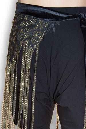 Black Embroidered Lace Dot Fringe