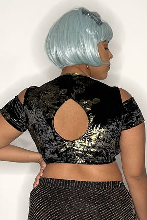 Royal Black Velvet Cadi Top with Golden Flowers