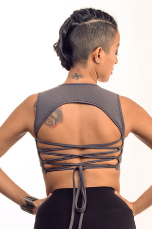 Gray Corset Back Top