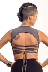 Gray Corset Back Top v. 2.0