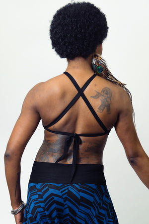Abstract Geo Blue Relaxed Halter