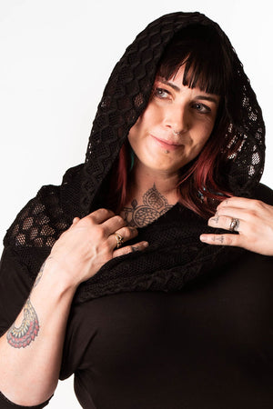 Black Honeycomb Textured Lace Empire (Hooded Infinity Scarf)