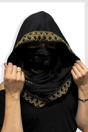 Mustard Lace Trim Empire (Infinity Hooded Scarf)