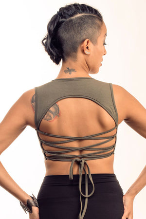 Olive Corset Back Top