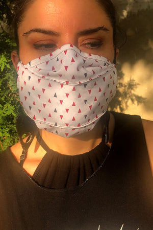 White Triangles Face Mask