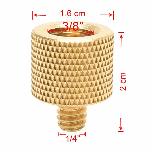 "Foto&Tech Brass 3/8""-16 F - 1/4""-20 M Tripod Thread Screw Adapter Reducer"
