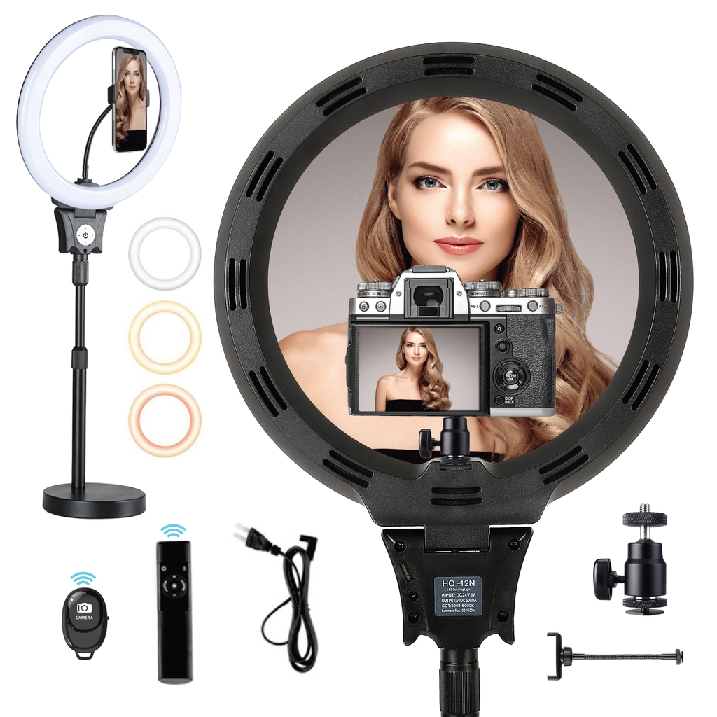 "LED 12"" Selfie Ring Light w/ Tabletop Stand & Remote"