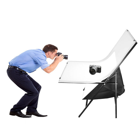 Foto&Tech Portable Non-Reflective Still Life Shooting Metal Frame Foldable Table with 58cm x 98cm Pure White Plexiglass Panel Cover Photo Studio Bench Easy Set Up without tools …
