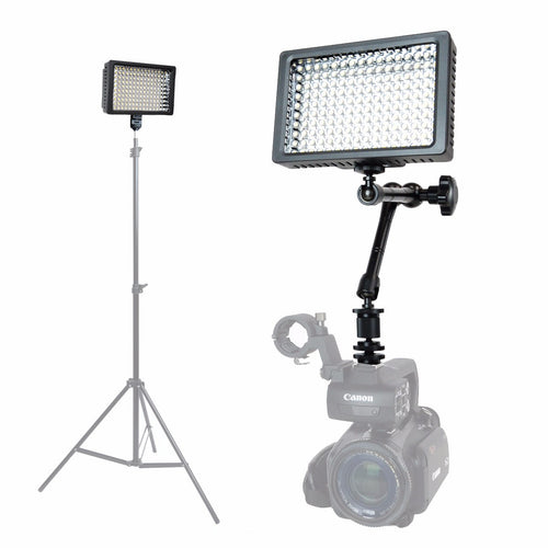Foto&Tech Dimmable 160 LED Panel Video Light with Magic Arm