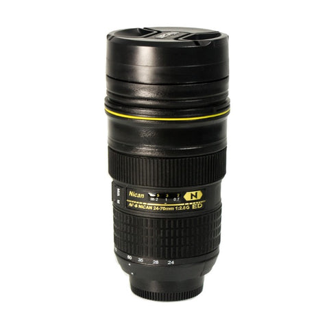 Foto&Tech Travel Coffee Mug / Cup / Thermos Lenscup / Lens Cup Stainless Steel Insulated Tumbler (Modeling 1:1 Nikon AF-S 24-70mm f/2.8G ED Camera Lens Cup 14.5 Ounce, Black)