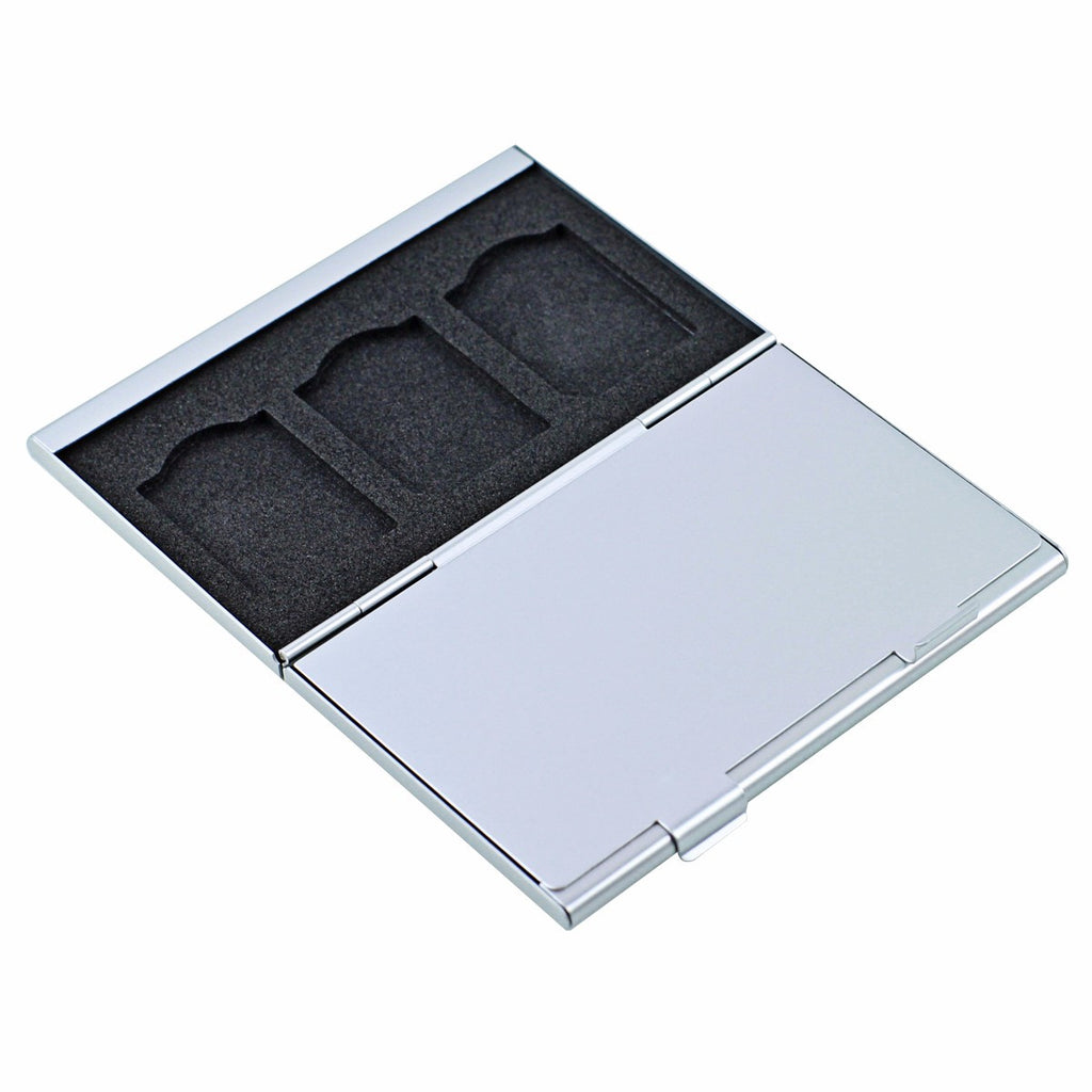 Foto&Tech 6-Slot Silver Memory Card Case-Lexar SanDIsk Kingston Sony Flat